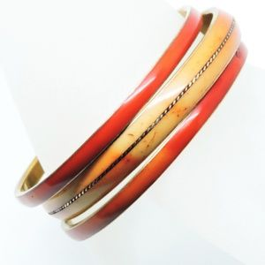 3 Stacking Red Coral Bangle Bracelets Brass 1970's
